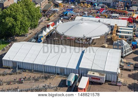 EMMELOORD THE NETHERLANDS - SEP 10: Aerial view central plaza with stands of a local agricultural potato festival on September 10 2016 in Emmeloord capitial city of Noordoostpolder the Netherlands
