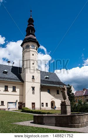 STARE MESTO, JESENIKY MOUNTAINS, CZECH REPUBLIC, JULY 04, 2016: Town hall with the Neptune fountain in the foreground