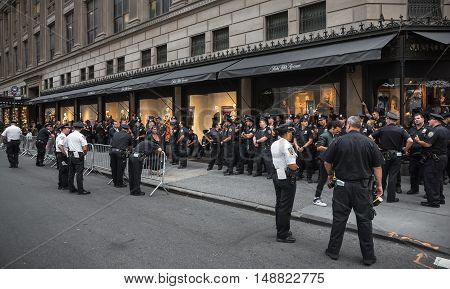 Group Of Policemen On The Streets Of New York