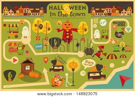 Halloween in Town - Street Food and October Party Symbols on City Map. Sweet Treats and Jack-o-lantern. Invitation Card for Party. Vector Illustration.