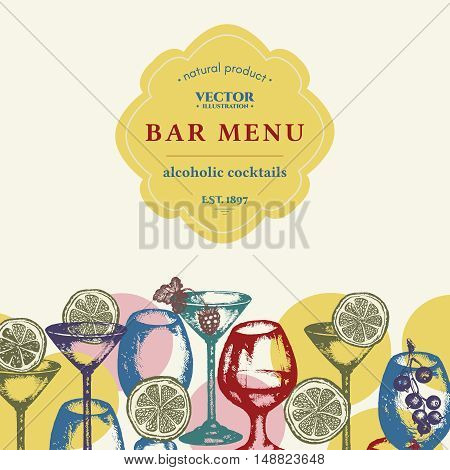 Alcohol bar menu vector alcohol drinks set