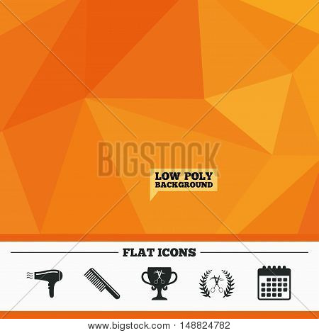 Triangular low poly orange background. Hairdresser icons. Scissors cut hair symbol. Comb hair with hairdryer symbol. Barbershop laurel wreath winner award. Calendar flat icon. Vector