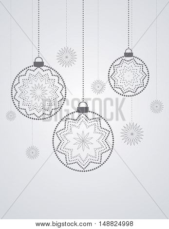 Vector Christmas balls on a gray background