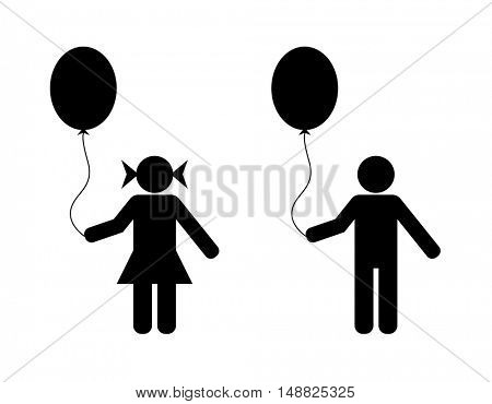 boy and girl with balloon  icon