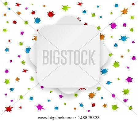 white paper banner at starburst splash star background
