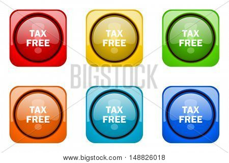 tax free colorful web icons