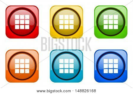 thumbnails grid colorful web icons