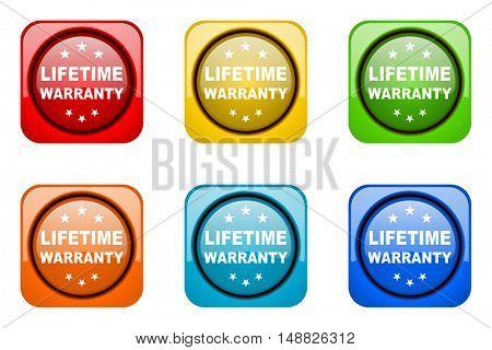 lifetime warranty colorful web icons