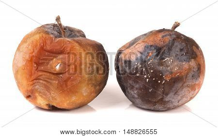 two rotten apple isolated on a white background.