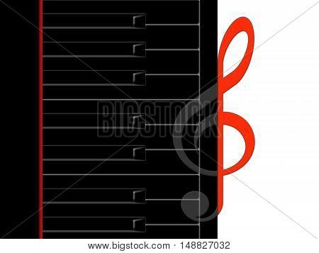 Black keys of the piano and the treble clef