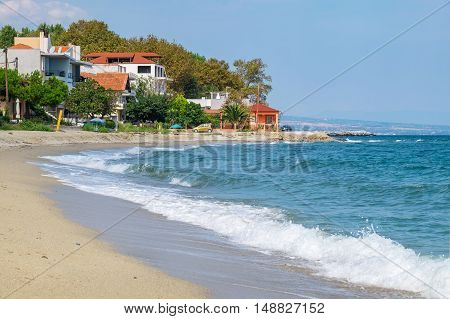 Sand beach in Platamonas. Pieria Central Macedonia Greece Europe
