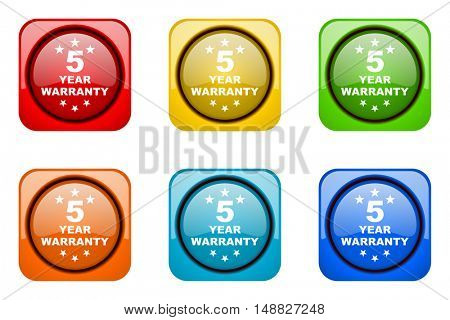 warranty guarantee 5 year colorful web icons