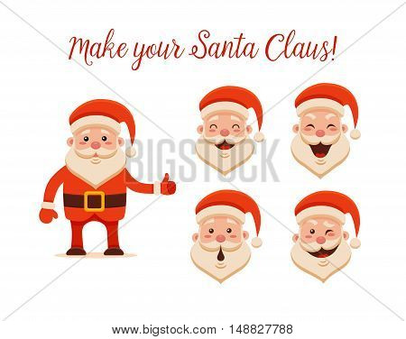 Cartoon Santa Claus for Your Christmas and New Year greeting Design or Animation. Vector isolated illustration of happy Santa Claus and different emotions in colorful flat style