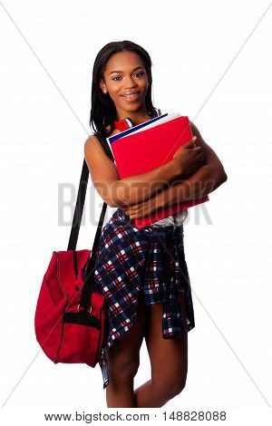 Happy Student With Binders And Bag