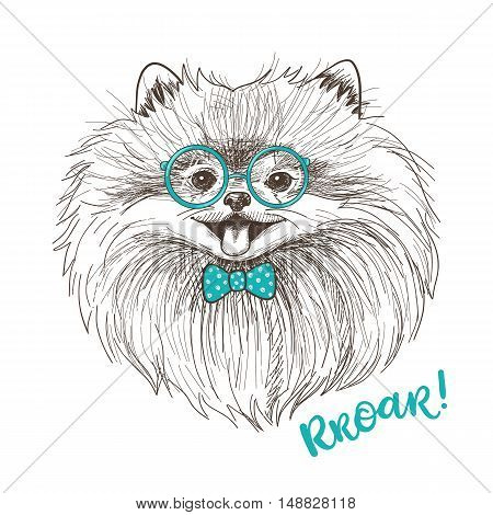 Vector sketch illustration of a cute little Pomeranian with bow and round glasses. Fashionable dog print design. Smiley face of Pom puppy