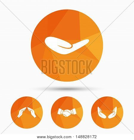 Hand icons. Handshake successful business symbol. Insurance protection sign. Human helping donation hand. Prayer meditation hands. Triangular low poly buttons with shadow. Vector