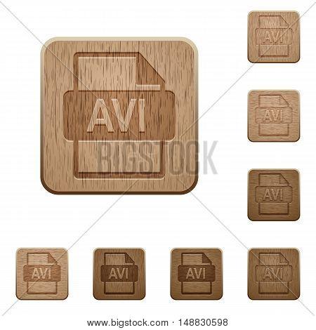 Set of carved wooden AVI file format buttons in 8 variations.