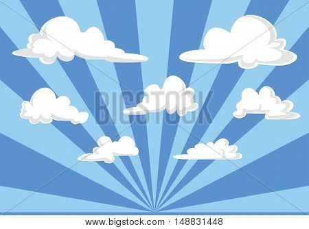 Blue Sky And Fluffy Clouds Illustration - Cartoon Style Vector