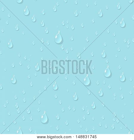 Water transparent drops seamless pattern. Rain drops. Condensed water on bright blue background. Water drops scattered across the surface. Vector illustration