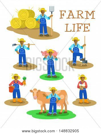 Black farmers men and women working on farm. Farming characters standing in different poses. Flat illustration. Agrarian man figures with pitchfork, shovel, hoe, cow, pig. Woman with carrot harvest and hen