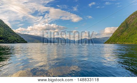 View Across The Sognefjord From The Village Of Vik, Norway