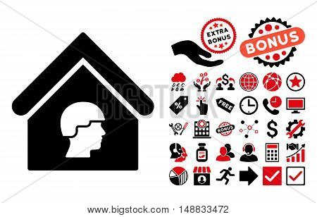 Barrack Building icon with bonus icon set. Vector illustration style is flat iconic bicolor symbols, intensive red and black colors, white background.