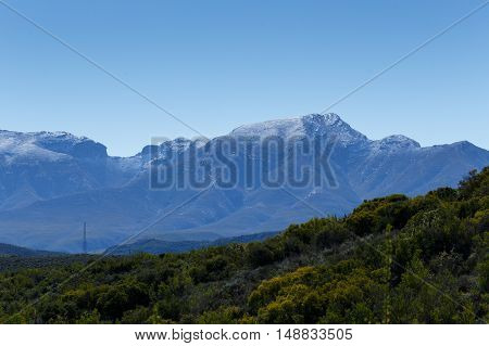 Green Landscape with silver snow in South Africa
