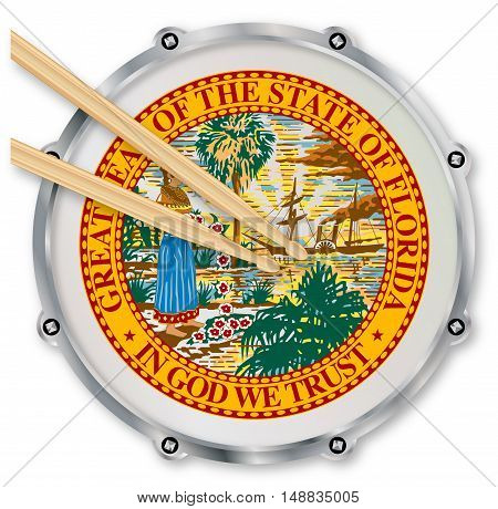 Florida state seal snare drum batter head with tuning screws and with drumsticks over a white background