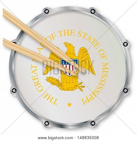 Mississippi state seal snare drum batter head with tuning screws and with drumsticks over a white background