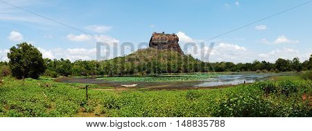 The panorama of Sigiriya (Lion's rock) is an ancient rock fortress and palace ruins Sri Lanka