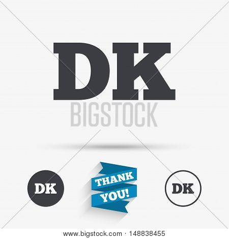 Denmark language sign icon. DK translation symbol. Flat icons. Buttons with icons. Thank you ribbon. Vector