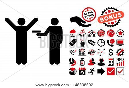 Crime Robbery icon with bonus pictogram. Vector illustration style is flat iconic bicolor symbols, intensive red and black colors, white background.