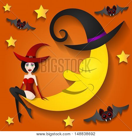 The witch sitting on the moon Halloween
