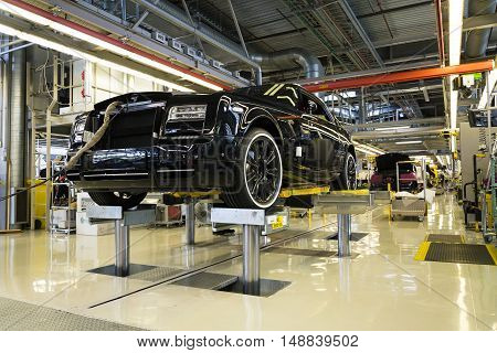 Westhampnett, United Kingdom - August 11: Rolls-royce Cars Stand On Production Line In Goodwood Fact