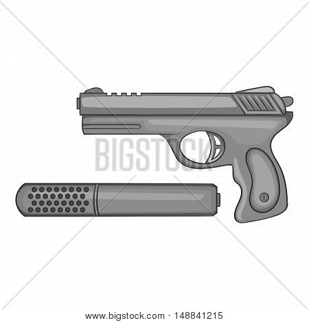 Pistol with a silencer icon in black monochrome style isolated on white background. Weapons symbol vector illustration