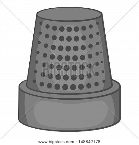 Thimble icon in black monochrome style isolated on white background. Accessory symbol vector illustration