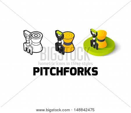 Pitchforks icon, vector symbol in flat, outline and isometric style