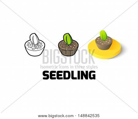 Seedling icon, vector symbol in flat, outline and isometric style