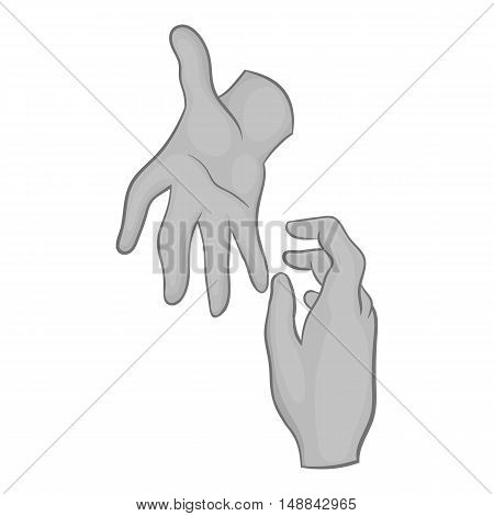 Hand reaches out to other hand icon in black monochrome style isolated on white background. Help symbol vector illustration