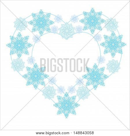 Snowflake heart winter flat desigh. Vector illustration. May used for Christmas card, New Year romantic design, scrapbooking, fabric, web elements, flyer, border