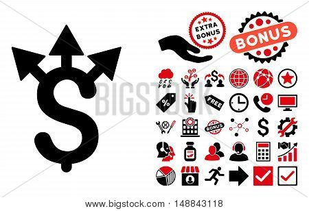 Expences pictograph with bonus symbols. Vector illustration style is flat iconic bicolor symbols, intensive red and black colors, white background.