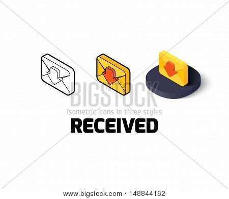 Sent icon, vector symbol in flat, outline and isometric style
