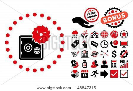 Hacking Theft pictograph with bonus symbols. Vector illustration style is flat iconic bicolor symbols intensive red and black colors white background.