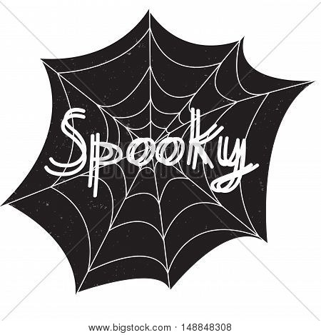 Halloween poster with text inside - Spooky. Textured background. Grunge modern typographic, brush calligraphy and hand drawn lettering. Vector illustration. Use halloween cards, covers, tags, icons set and more.