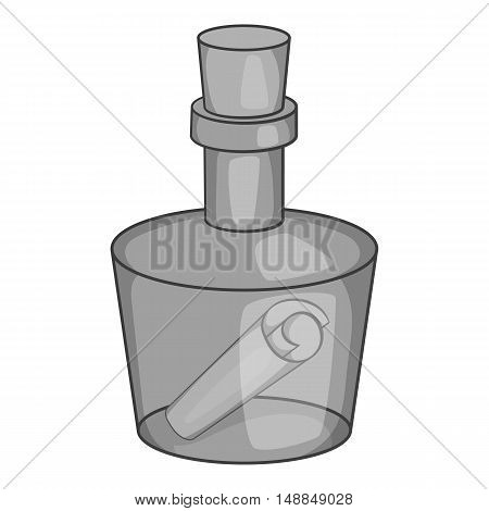 Message in a bottle icon in black monochrome style isolated on white background. Note symbol vector illustration