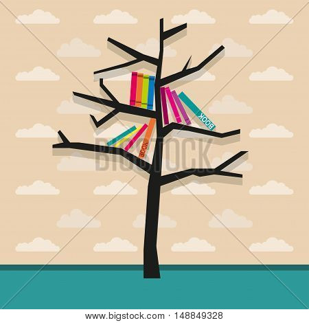 Bookshelf Vector illustration Bookshelf tree on the background of the walls in the room