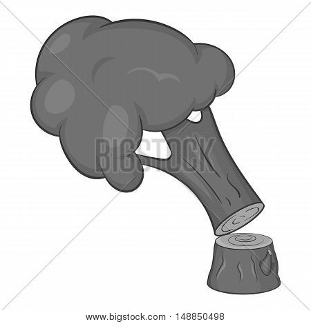 Felled tree icon in black monochrome style isolated on white background. Felling symbol vector illustration