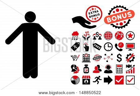 Ignorance Pose pictograph with bonus elements. Vector illustration style is flat iconic bicolor symbols intensive red and black colors white background.