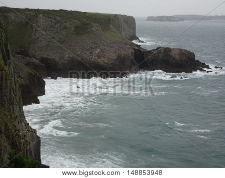 Cliffs seascape photographed at Shrinkle Haven in Pembrokeshire