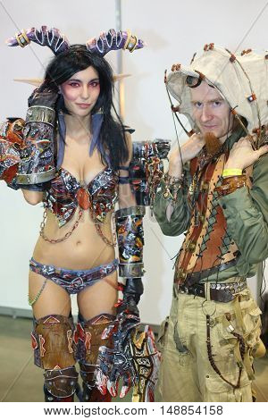 MOSCOW - OCT 12, 2014: Portrait of cosplayers at the EveryCon 2014 in the exhibition center Sokolniki